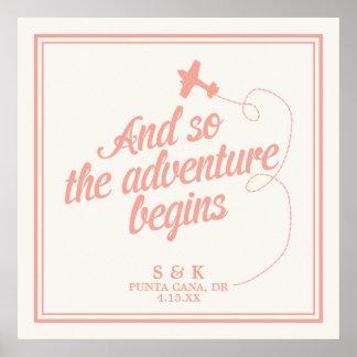 冒険は の行先の結婚式-ピンク--を始めます ポスター