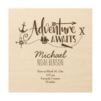 """""""冒険""""は航海のな子供部屋の誕生Statsを待ちます ウッドウォールアート"""