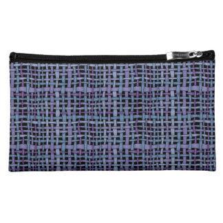 写実的で現実的な見る編まれたバーラップの青い紫色 コスメティックバッグ