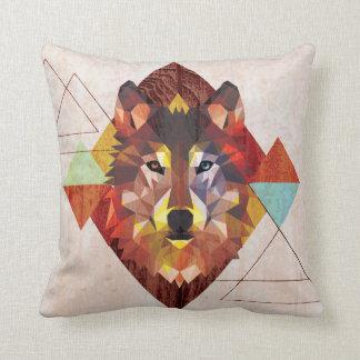写実的なオオカミ クッション