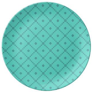 写実的なタイルのデザインの緑 磁器プレート