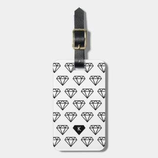写実的なダイヤモンドのイニシャルのモノグラム バッグタグ