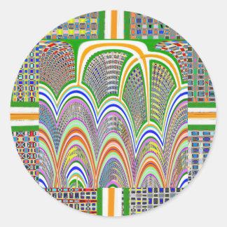 写実的なデジタル装飾パターン虹7 ラウンドシール
