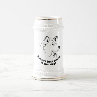 写実的な犬の顔を搭載するステイン ビールジョッキ
