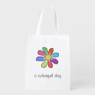 写実的な花カラフルな日の文字 エコバッグ
