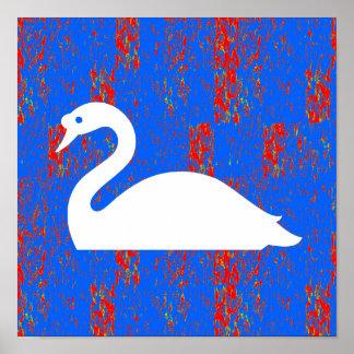 写実的な装飾のアヒルの白鳥のガチョウのsea湖は裂きます ポスター