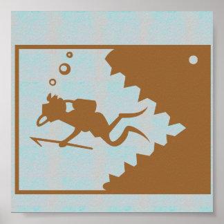 写実的な装飾の鮫の歯およびダイバー ポスター