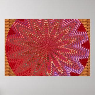 写実的な金輝き:  カラフルな波の円 ポスター