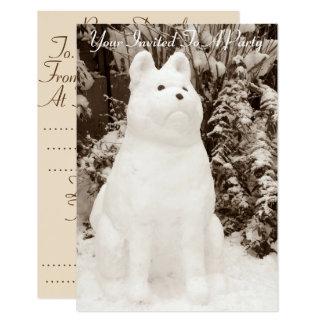 写真おもしろいな雪の秋田の雪だるまのクリスマス カード