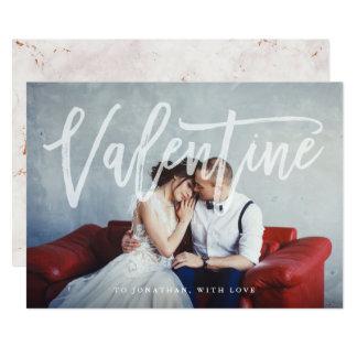 写真および大理石を持つロマンチックな原稿|のバレンタイン カード
