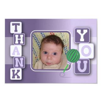 写真とのサンキューカード-女の赤ちゃんのブロックのラッセル音 カード