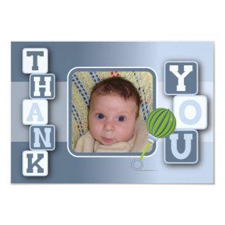 写真とのサンキューカード-男の赤ちゃんのブロックのラッセル音 カード