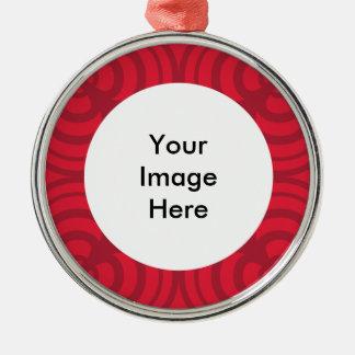 写真のための場所を持つ赤いフレームのオーナメント メタルオーナメント