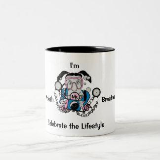写真のひよこのダイバー ツートーンマグカップ