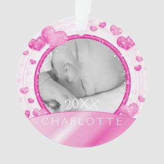 写真のオーナメント|の女の赤ちゃんのピンクのハート オーナメント