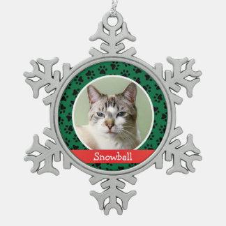 写真のオーナメント|名前入りな猫ペット スノーフレークピューターオーナメント