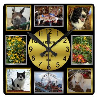 写真のカスタム8の写真の名前入りで黒い金ゴールド スクエア壁時計