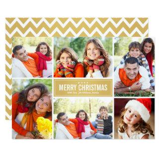写真のコラージュのクリスマスカード|の金ゴールドシェブロン 12.7 X 17.8 インビテーションカード