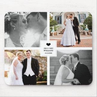 写真のコラージュを結婚する黒いハート マウスパッド