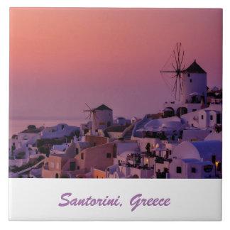 写真のタイル- Santoriniの日没-ギリシャ タイル