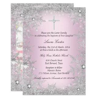 写真のピンクの銀製の雪片の洗礼か《キリスト教》洗礼式や命名式 12.7 X 17.8 インビテーションカード