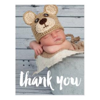 写真のベビーの誕生の発表ありがとう ポストカード