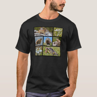 写真のモザイク高山のmarmotsおよびedelweiss tシャツ