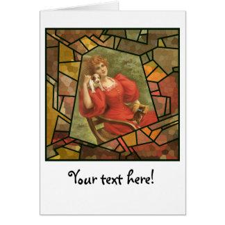 写真のモザイク-赤の女性 カード