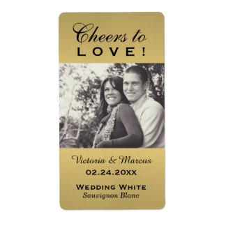 写真のワイン・ボトルの好意のラベルを結婚する金ゴールド ラベル