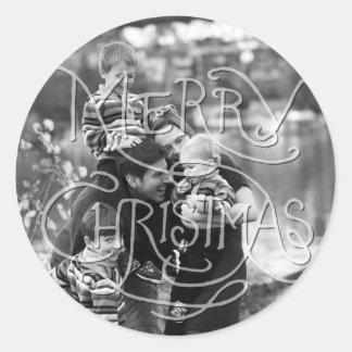 写真の休日のステッカー: 黒板のメリークリスマス ラウンドシール