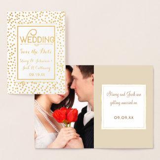 写真の保存日付の金ゴールドの紙吹雪のタイポグラフィ 箔カード
