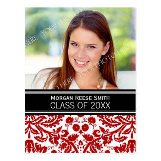 写真の卒業パーティーの招待の赤のダマスク織 ポストカード