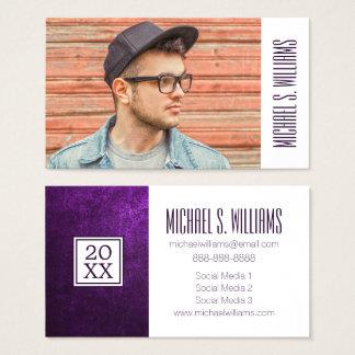 写真の卒業|の抽象的な紫色 名刺