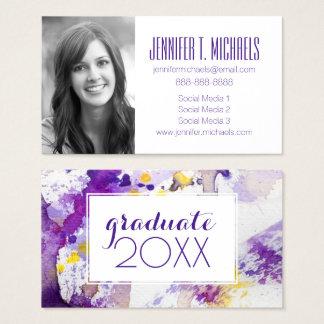 写真の卒業|の黄色及び紫色の水彩画 名刺