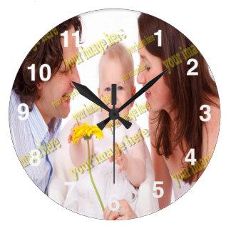 写真の家計費のテンプレート ラージ壁時計