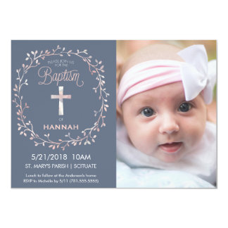 写真の招待状-女の赤ちゃん--に洗礼を施す洗礼 11.4 X 15.9 インビテーションカード