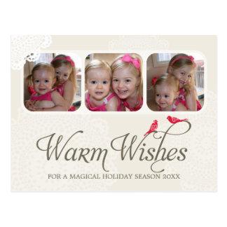 写真の挨拶の郵便はがき:: 願い1を暖めて下さい ポストカード