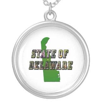 写真の文字および地図デラウェア州 シルバープレートネックレス