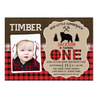 写真の樵のバーラップの第1誕生日の招待状 カード