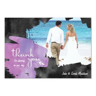 写真の水彩画の紫色の黒のサンキューカード 8.9 X 12.7 インビテーションカード