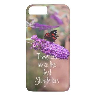 写真の紫色の黒い蝶 iPhone 8 PLUS/7 PLUSケース