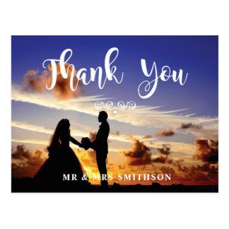 写真の結婚式の招待状のカップルの郵便はがきありがとう ポストカード