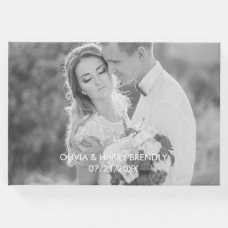 写真の結婚式の来客名簿-白い文字の上敷 ゲストブック