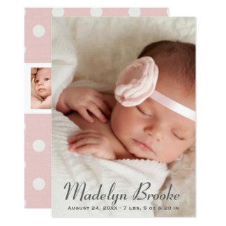 写真の誕生の発表カード ピンクの水玉模様 カード
