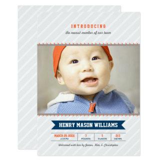 写真の誕生の発表カード 野球のテーマ カード