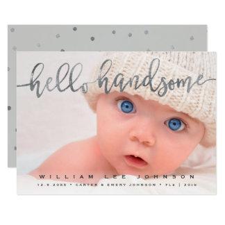 写真の誕生の発表 のこんにちはハンサムな原稿 カード