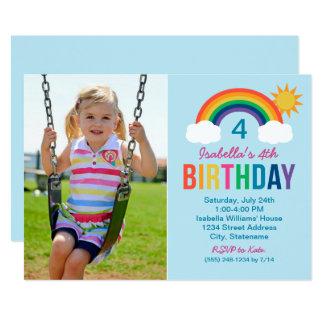 写真の誕生日のパーティの招待状|の虹色 カード