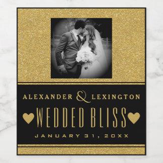 写真の金ゴールドのグリッターおよび黒くエレガントな結婚式 ワインラベル