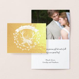 写真の金ゴールドホイルのリースの(雄ジカの)枝角の結婚は感謝していしています 箔カード
