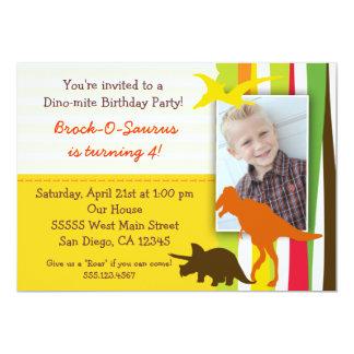 写真を持つ恐竜の誕生日の招待状 カード